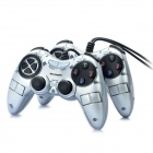 Dual Shock USB 2.0 Wired PC Game Joypad Controller - Silver + Black (Pair)