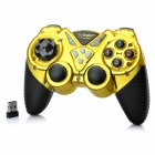 2.4GHz Dual-Shock Wireless Game Joypad Controller w/ USB Receiver for PC - Golden + Black (4 x AAA)