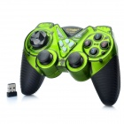 2.4GHz Dual-Shock Wireless Game Joypad Controller w/ USB Receiver for PC - Green + Black (4 x AAA)