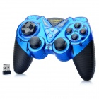 2.4GHz Dual-Shock Wireless Game Joypad Controller w/ USB Receiver for PC - Blue + Black (4 x AAA)