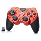 2.4GHz Dual-Shock Wireless Game Joypad Controller w/ USB Receiver for PC - Red + Black (4 x AAA)