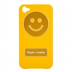 Smile Image Pattern Protective Black Case for iPhone 4 / 4S - Yellow