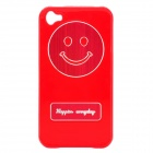 Smile Image Pattern Protective Black Case for iPhone 4 / 4S - Red