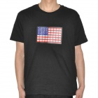Sound Activated US Flag Pattern EL Visualizer Cotton T-shirt - Black (2 x AAA / Size-XL)
