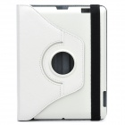 Protective 360 Degree Rotation Holder Leather Case for the New Ipad - White