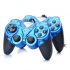 Dual Shock USB 2.0 Wired PC Game Joypad Controller - Blue (Pair)