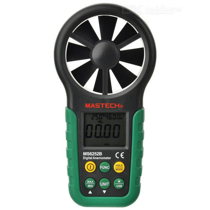 Mastech MS6252B 2.0 LCD Digital Wind Speed Meter Anemometer - Dark Green (1 x 9V)Testers &amp; Detectors<br>Model:Form  ColorGreenPowered ByUSBPacking List<br>