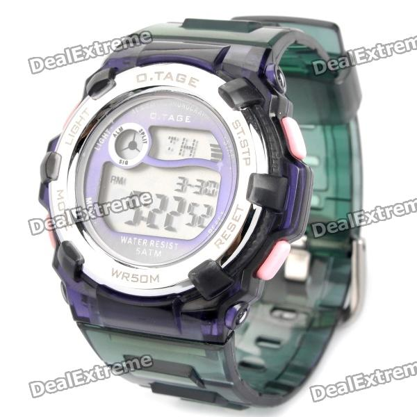 OTAGE Waterproof Digital Wrist Watch w/ Alarm / Stopwatch - Purple + Green (1 x SR626)