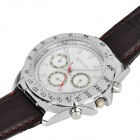 Stylish Leather Band Quartz Wrist Watch - White + Dark Brown