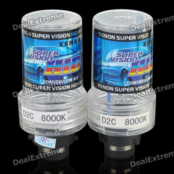 D2C 55W 8000K 3000LM HID Bluish White Light Xenon Headlamps (Pair)