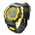 Sports Diving Wrist Watch w/ EL Backlit/Week/Stopwatch/Alarm Clock - Black + Yellow (1 x CR2016)