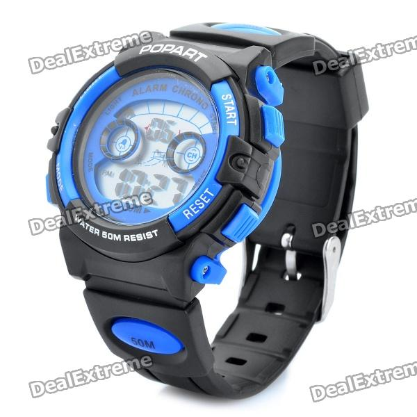Sports Diving Wrist Watch w/ EL Backlit/Week/Stopwatch/Alarm Clock - Black + Blue (1 x CR2016)