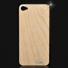 Protective Front Screen Protector Film + Wooden Back Cover Skin Sticker for   Iphone 4 / 4S