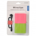 Silicone Square Scattered Wires Organizer - Green + Deep Pink (Pair / Size-L)