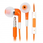 Stylish In-Ear Earphone w/ Microphone / Volume Control for iPhone 4 / 4S / iPod / iPad - Orange