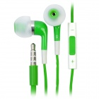 Stylish In-Ear Earphone w/ Microphone / Volume Control for iPhone 4 / 4S / iPod / iPad - Green