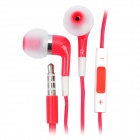Stylish In-Ear Earphone w/ Microphone / Volume Control for iPhone 4 / 4S / iPod / iPad - Red