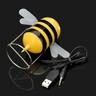 Cute Bee Style USB Powered Speaker - Black + Yellow (3.5mm Jack)