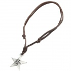 Cool Punk Style Leather Zinc Alloy Necklace - Five-Pointed Star Style Pendant (Brown)
