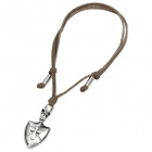 Cool Punk Style Leather Zinc Alloy Necklace - Skull + Cross Shield Style Pendant (Brown)