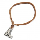 Cool Punk Style Leather Zinc Alloy Necklace - Military Boots Style Pendant (Brown + Silver)