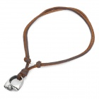 Cool Punk Style Leather Zinc Alloy Necklace - Lighter Ring Style Pendant (Brown)