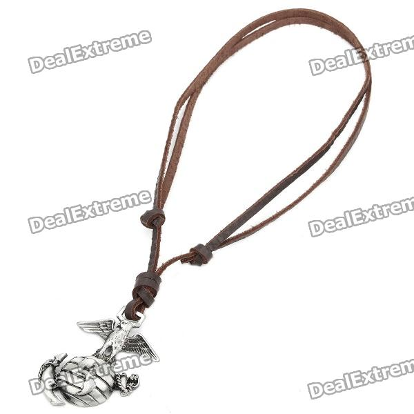 Cool Punk Style Leather Zinc Alloy Necklace - Earth + Eagle Style Pendant (Brown) cool punk style leather zinc alloy necklace skull with crown style pendant dark brown