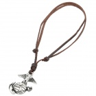 Cool Punk Style Leather Zinc Alloy Necklace - Earth + Eagle Style Pendant (Brown)