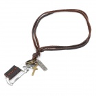 Cool Punk Style Leather Zinc Alloy Necklace - Hacksaw + Cross Style Pendant (Brown)