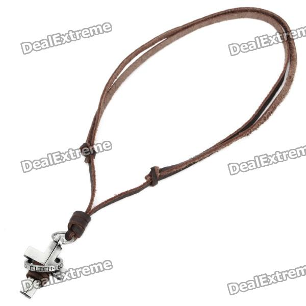 Cool Punk Style Leather Zinc Alloy Necklace - Cross + Ring Style Pendant (Brown)