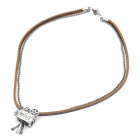 Cool Punk Style Leather Zinc Alloy Necklace - Camcorder Style Pendant (Brown)