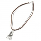 Cool Punk Style Leather Zinc Alloy Necklace - Skeleton Style Pendant (Brown)
