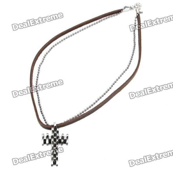 Cool Punk Style Leather Zinc Alloy Necklace - Unique Elegant Cross Style Pendant (Brown) elegant hand style alloy shirt collar tips necklace golden