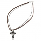 Cool Punk Style Leather Zinc Alloy Necklace - Unique Elegant Cross Style Pendant (Brown)