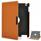 360 Degree Rotation Protective PU Leather Case for iPad 2 / The New iPad - Coffee