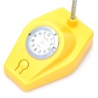 Flexible Neck 5-LED White Light Desk Lamp with Clock - Yellow + Silver (USB / 3 x AA)