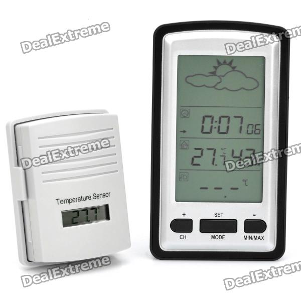 Wireless Weather Station w/ Alarm Clock / Calendar / Barometer / Hygrometer / Thermometer wireless weather station digital color lcd thermometer forecaster clock indoor outdoor humidity meter with remote sensor 50% off