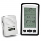 Wireless Weather Station w/ Alarm Clock / Thermometer - Black + Silver