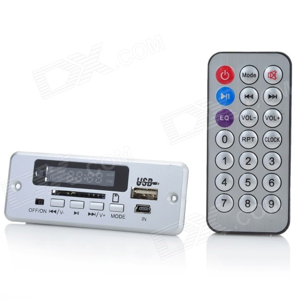 1.0 LED MP3 Player Module w/ FM/Remote Controller/USB/Mini USB/SD Slot - Silver (5V) brand new appj pa1601a vintage mini 6j1 6p4 tube amplifier desktop wifi usb sd card player 3w 3w silver