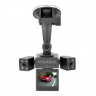 "720P 1.3MP Dual Lens Wide Angle Car DVR Camcorder w/ 8-IR Night Vision / TF (2"" LCD)"