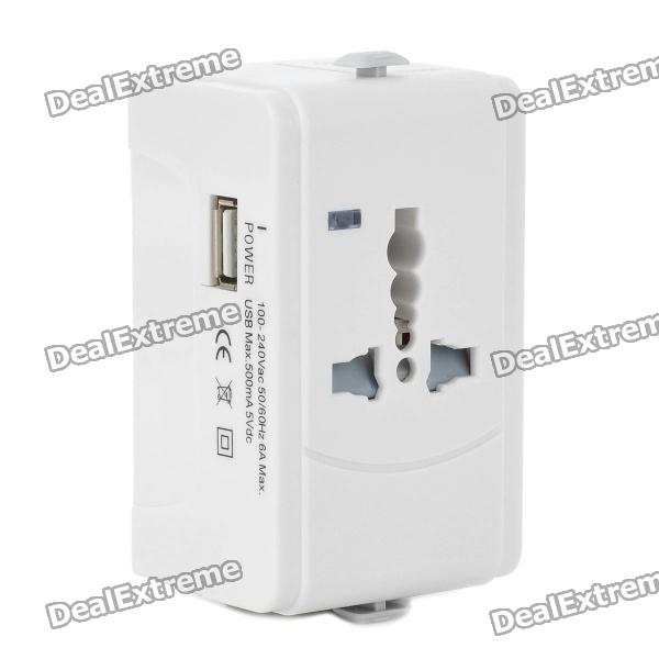 Adaptador Universal Plug Power Viagens com porta USB - White (EUA / UE / UK / AUS)