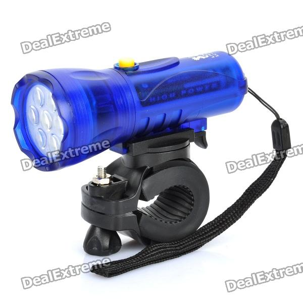 Bicycle Bike Mini Ultrabright White Light 7-LED 2-Mode Flashlight - Blue (3 x AAA)