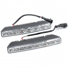 12W 6000~6500K 80~90-Lumen 12-LED White Light Car Daytime Running Lamps (DC 12V / Pair)