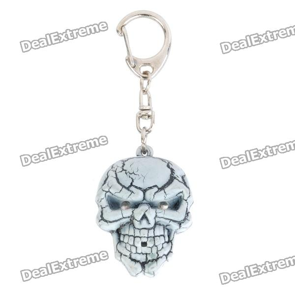 Cool Skull Style Pendant Keychain w/ Sound / Lighting Effect - Grey (3 x AG13) sport car style 2 led white light flashlight keychain w sound effect red 4 x lr41