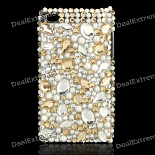 Stylish Acrylic Diamond Protective Plastic Back Case for Ipod Touch 4 - Golden + White