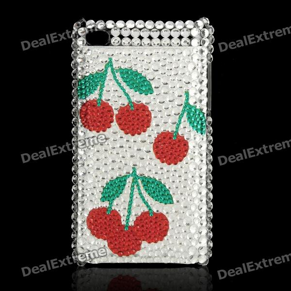 Shining Acrylic Diamond Cherry Pattern Protective Plastic Back Case for Ipod Touch 4