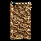 Shining Acrylic Diamond Protective Plastic Back Case for Ipod Touch 4 - Golden + Brown