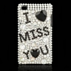 "Shining Acrylic Diamond ""I MISS YOU"" Protective Plastic Back Case for Ipod Touch 4"