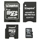 Genuine Kingston TF / Micro SD Memory Card w/ SD / MS PRO Duo / Mini SD Adapter - 16GB (Class4)