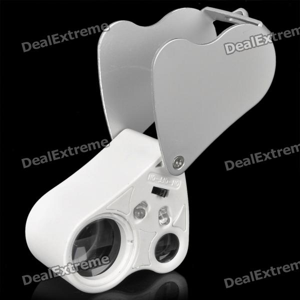 Portable 30X 22mm + 60X 12mm Jewelers Magnifier w / 2-White LED Flashlight - Blanc (3 x CR1130)